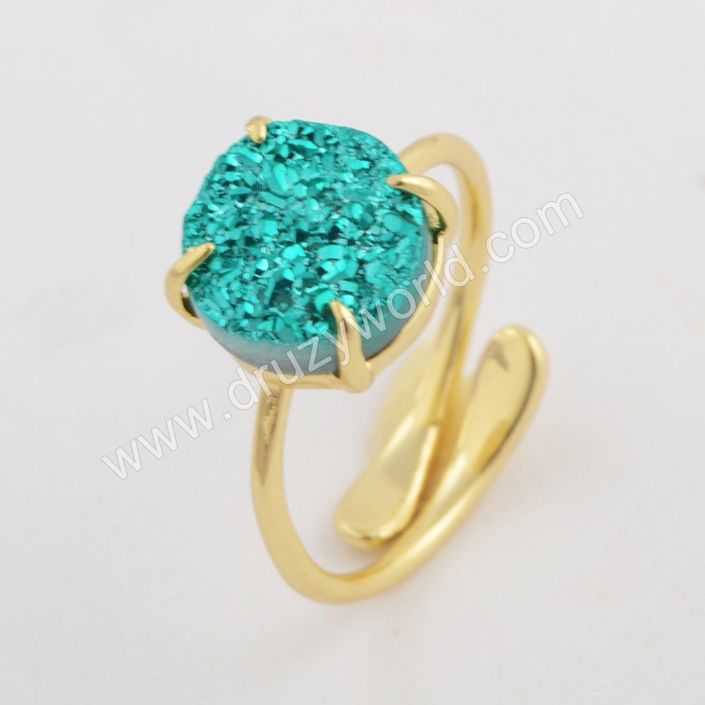 10mm Round Gold Plated Claw Natural Agate Titanium Rainbow Ring ZG0414