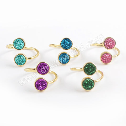 Gold Plated Beze Double Round Titanium Dark Rainbow Druzy Adjustable Ring ZG0364