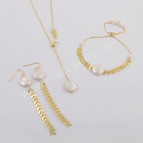 Gold Round White Shell Bracelet Necklace and Barrings WX1100