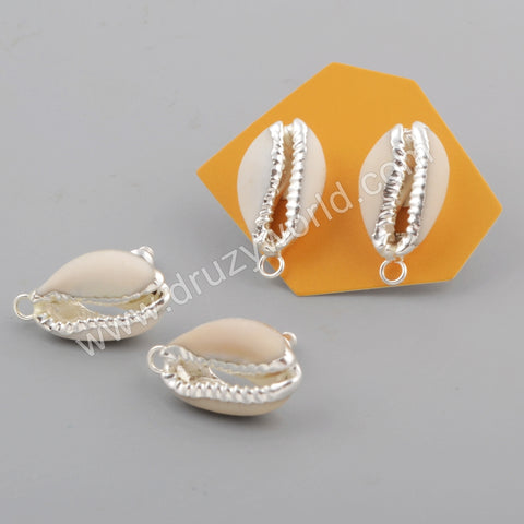 Cowrie Shell Charm Stud Earrings For Women Silver Plated S1772