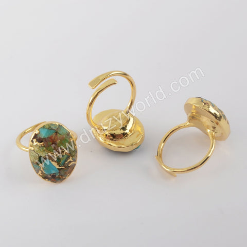 Goldline Turquoise Rings Jewelry Women Gold Plated Copper Ring G1934
