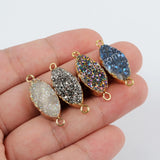 Gold Plated Marquise Titanium AB Druzy Connector G1375