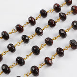 5m/lot,8x5mm Roundel Chicken Blood Stone Faceted Beads Wire Wrapped Rosary Chain JT186