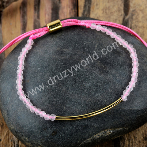 Rose Quartz Beads Beads Bracelet Adjustable Bracelet HD0220