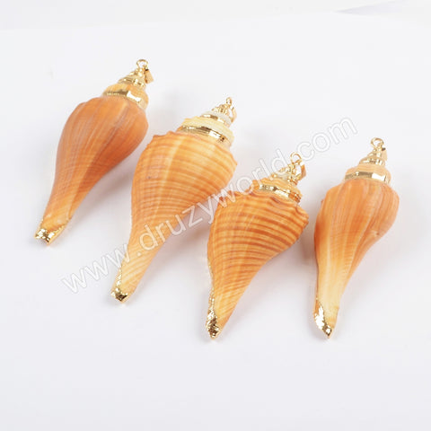 Gold Plated Natural Conch Shell Pendant For Summer Jewelry Necklace Handmade Boho Style G1654