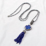 "31"" Black Chain Lapis Lazuli Cross Shape Necklace Pave Zircon With Blue Tassel JAB398"