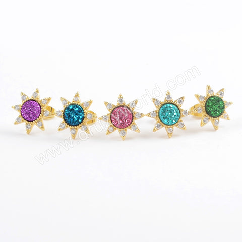 Star Gold Plated CZ Micro Pave Rainbow Druzy Studs Earring ZG0382