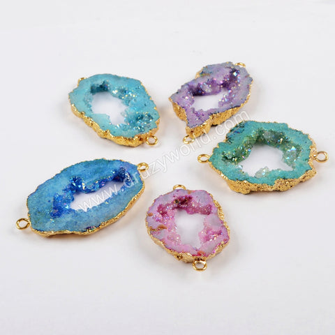 Gold Plated Dyed Rainbow Druzy In Titanium AB Color Connector G1525