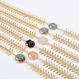 Gold Plated Natural Agate Titanium Rainbow Druzy Faceted Necklace ZG0181