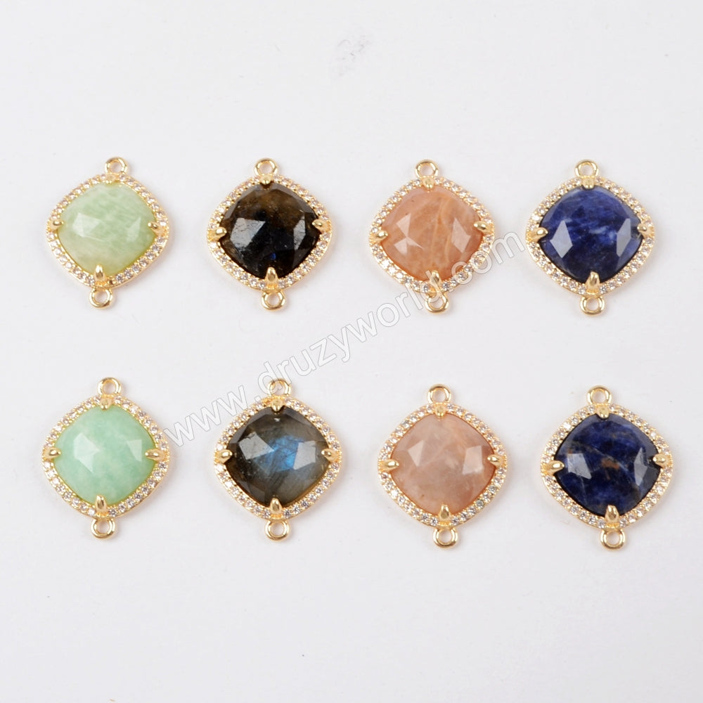 CZ Micro Pave Diamond Gemstone Lapis Lazuli  Labradorite Rose Quartz Amazon Stone Connector WX973