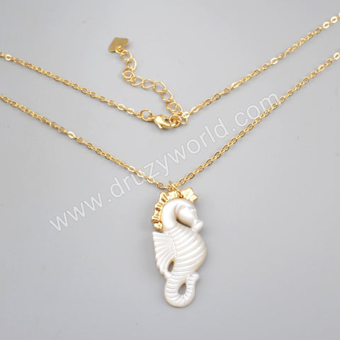 Hippocampus Shape Gold Plated White Shell Charm G1728