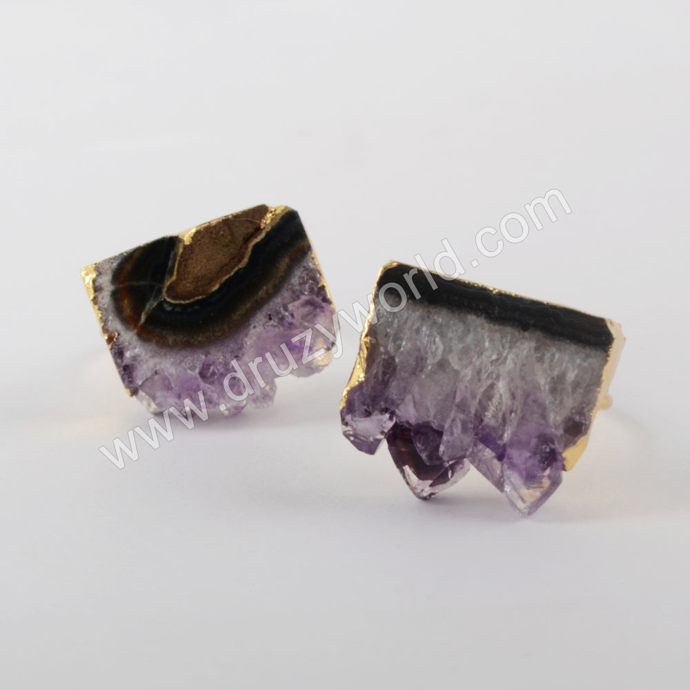 Natural Amethyst Slice Golds Ring Women Ring Gold Plated G1935