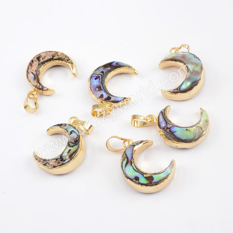 Crescent Gold Plated Abalone Shell Pendant G1713