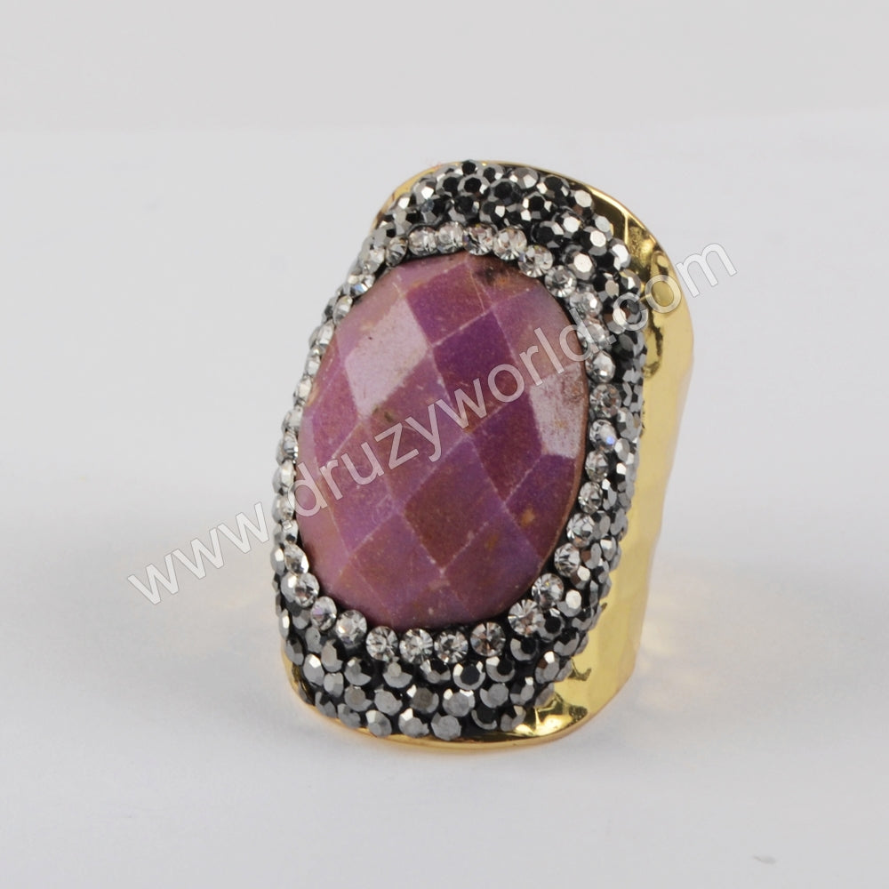 Gold/Silver Plated Sugilite Rhinestone Ring JAB973