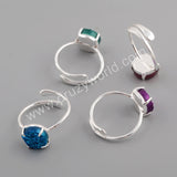 10mm Claw Natural Agate Titanium Rainbow Ring Silver Plated ZS0414