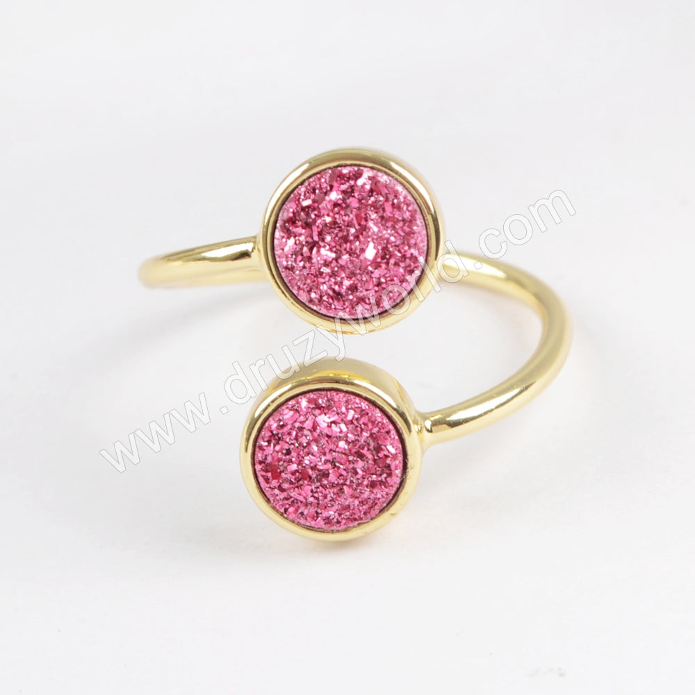 Gold Plated Bezel Double Round Titanium Dark Rainbow Druzy Adjustable Ring ZG0364