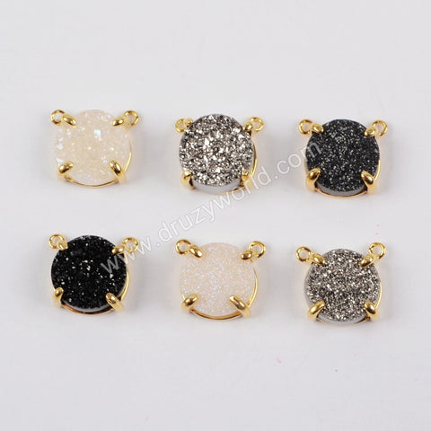 10mm Round Gold Plated Claw Natural Agate Titanium Rainbow Druzy Connector Double Bails ZG0165