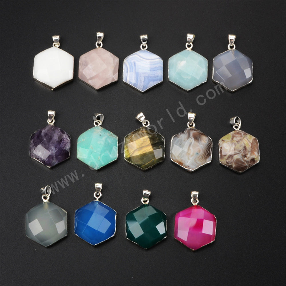 925 Sterling Silver Hexagon Natural Multi-kind Stone Pendant SS150