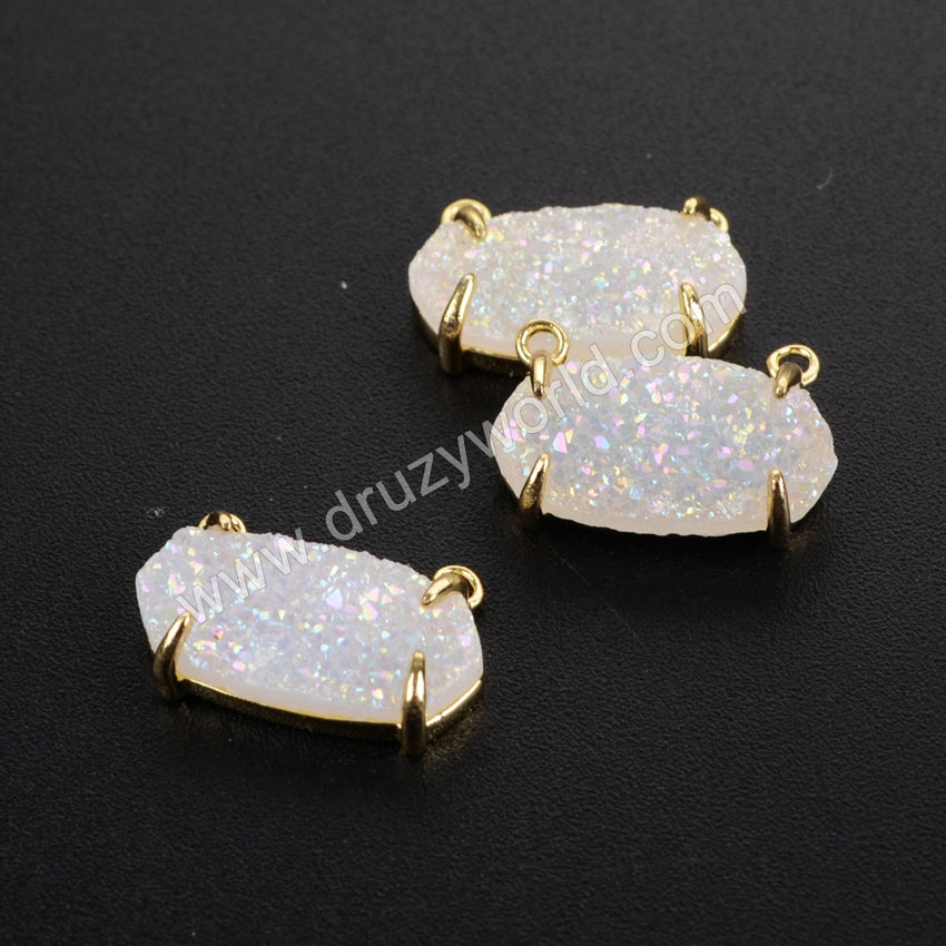 Hexagon Gold Plated Bezel Natural Agate Titanium  Druzy Claw Connector Double Bails ZG0135