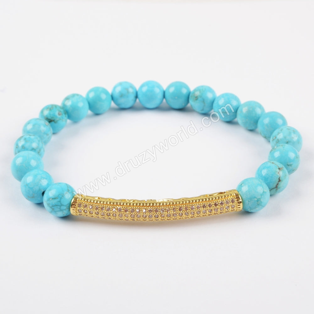 Gold Plated CZ Tube Bar With 8mm Gemstone Beads Bracelet G1475
