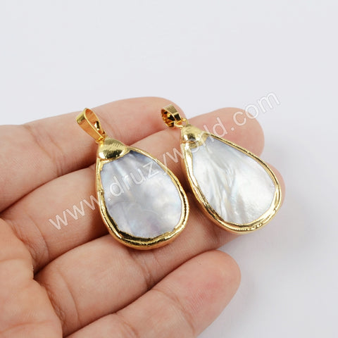 Gold Plated Drop Natural Shell Pendant G1926