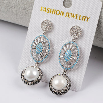 Rhinestone Pave Crystal Pearl CZ Micro Pave Earrings JAB836