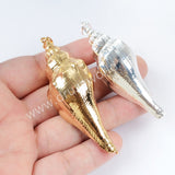 Natural Conch Shell Pendant For Beach Seashell Jewelry Making Silver Plated  S1655