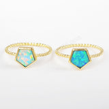 Gold Bezel Pentagon White Opal Ring ZG0242