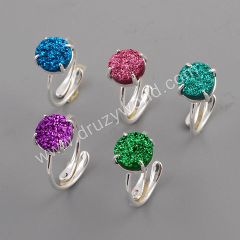 10mm Round Silver Plated Claw Natural Agate Titanium Rainbow Ring ZS0414