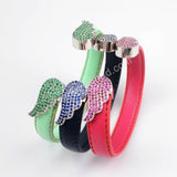 CZ Micro Pave Swing Leather  Bangle  WX490