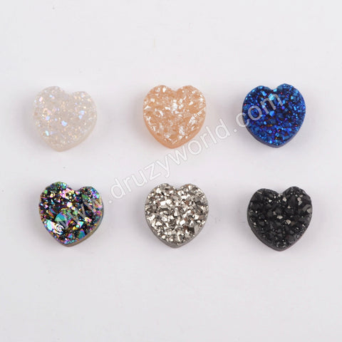 (With Hole)Rainbow Heart Titanium Raw Druzy Bead For Handmade Jewelry Making LS066