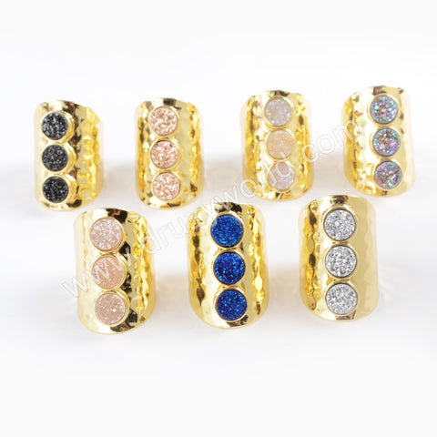 Gold Plated Bezel Three Round Titanium AB White Druzy Band Ring ZG0365