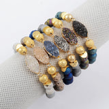 Gold Plated Marquise & 8mm Rainbow Titanium Druzy Bracelet G1376