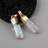 Gold Plated Aura Angel Quartz Titanium AB Crystal Point Faceted Pendant Bead G1395
