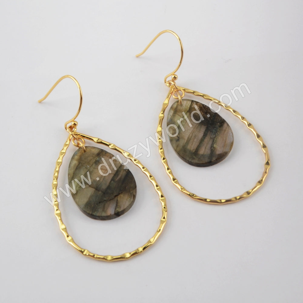 Labradorite Statement Earrings Gold Dangle Earrings Gold Plated G1936