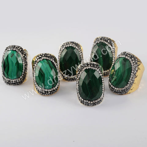 Gold/Silver  Plated Natural Malachite Rhinestone Ring JAB974
