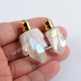 Gold LED Light Aura Titanium Crystal Cluster Point Charm Necklace G1980