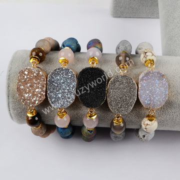 Gold Plated Natural Agate Titanium Rainbow Druzy With 10mm Rainbow Titanium Beads Bracelet G1396