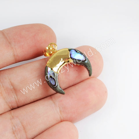 Crescent Gold Plated Abalone Shell Pendant G1714