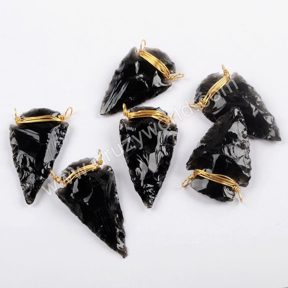 Boho Wire Wrapped Black Obsidian Arrowhead Connector In Gold For Hand-maker G1644