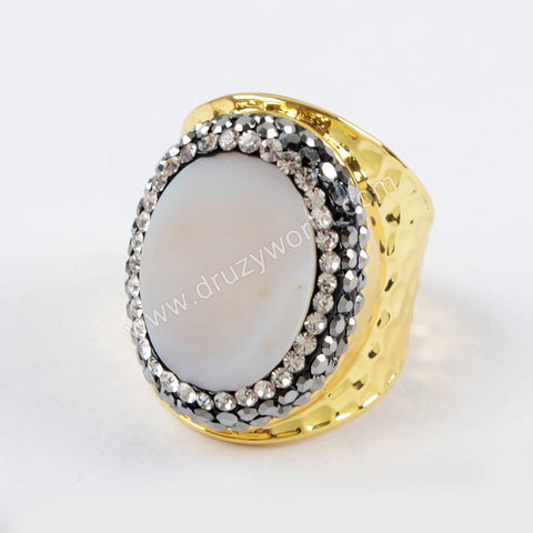 Rhinestone Pave Oval White Shell Ring JAB929