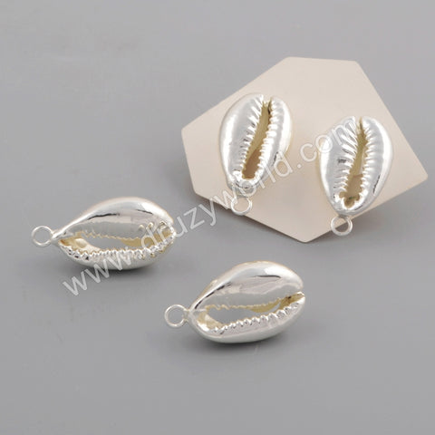 Full Cowrie Shell Charm Stud Earrings For Women Silver Plated S1773