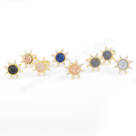 Star Gold Plated CZ Micro Pave Rainbow Druzy Studs Earring ZG0383