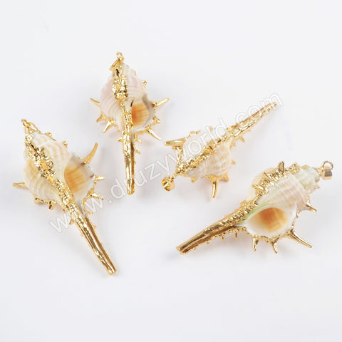 Gold Plated Natural Conch Shell Pendant For Boho Style Beach Jewelry Necklace Making G1656
