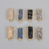 Rectangle Gold Plated Natural Agate Titanium  Druzy Connector Double Bails G1215
