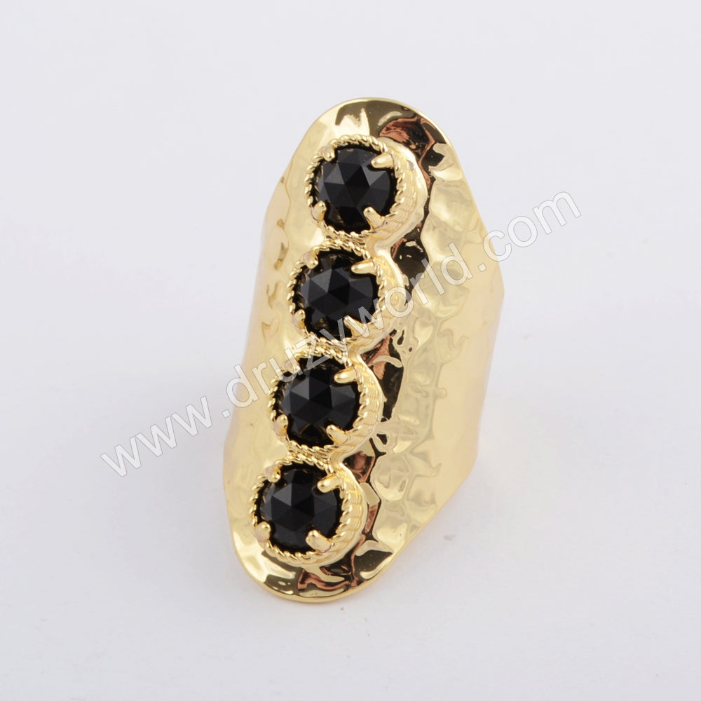 Round Gold Plated Black Agate Bezel Band Ring ZG0394