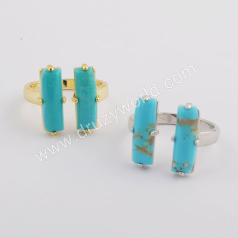 Natural Turquoise Ring Double Rectangle  Silver Plated ZS0415