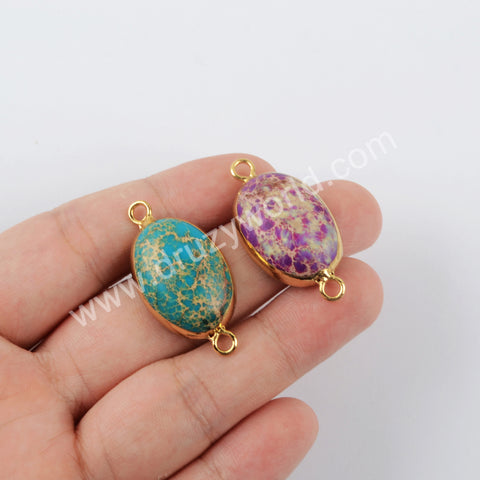 Sea Sediment Jasper Connector Fashion Jewelry Gold Plated G1956