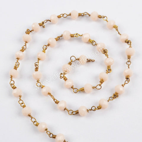 5m/lot,Gold Plated 6mm Cream Crystal Faceted Rosary Chain JT204