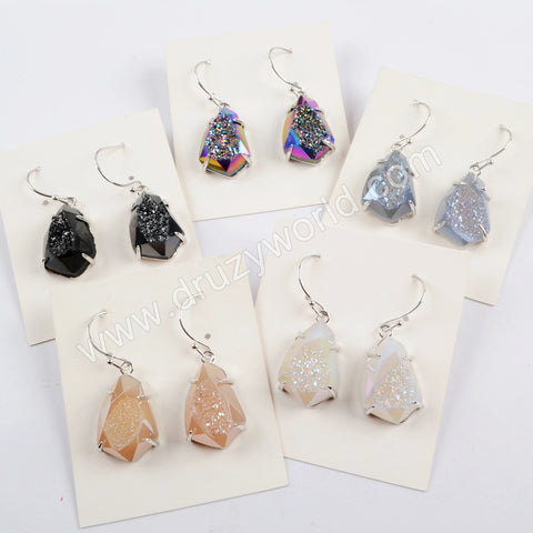 Silver Plated Four Claw Rainbow Titanium Druzy Crystal Faceted Earrings For Women ZG0349